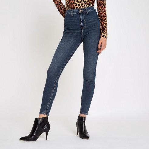 River Island Dark blue Kaia high waisted disco jeans   super skinnies