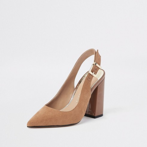 RIVER ISLAND Dark brown block heel sling back court shoes ~ chunky heeled slingbacks