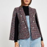 RIVER ISLAND Dark red boucle cape sleeve jacket ~ tweed jackets / capes