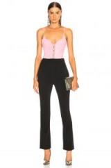 DAVID KOMA Sweetheart Neck Jumpsuit in Pink, Silver & Black   colour block fashion