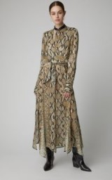 Petar Petrov Delhi Leather-Trimmed Snake-Print Silk-Chiffon Dress in Neutral | reptile printed dresses | luxe fashion