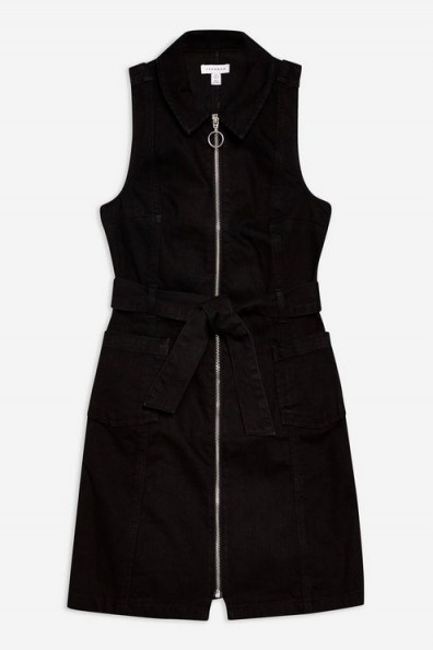 Topshop Denim Belted Dress with Collar in Black | sleeveless front zip dresses