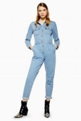 Topshop Denim Slouchy Boilersuit in Mid Stone | blue boilersuits