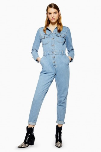 Topshop Denim Slouchy Boilersuit in Mid Stone | blue boilersuits