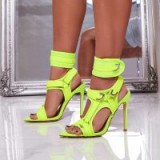 EGO Dive-In Pointed Cage Heel In Lime Green Lycra ~ bright cut out heels