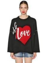 DOLCE & GABBANA OVERSIZE INTARSIA CASHMERE BLEND HEART PATTERN SWEATER – designer logo/slogan knitwear