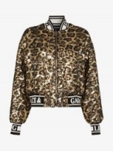 Dolce & Gabbana Gold and Black Sequin Embellished Leopard Print Bomber Jacket