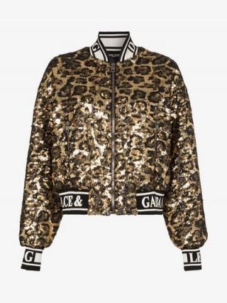 Dolce & Gabbana Gold and Black Sequin Embellished Leopard Print Bomber Jacket