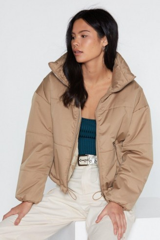 NASTY GAL Don't Rain On My Parade Padded Coat in stone