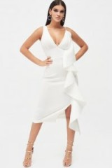 Lavish Alice draped frill midi scuba dress in white | plunging party dresses