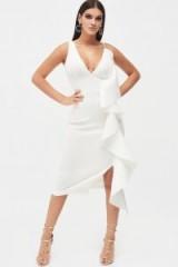 Lavish Alice draped frill midi scuba dress in white | plunging party dresses