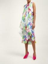 BALENCIAGA Draped watercolour-print silk-satin dress in white ~ ruffled dresses