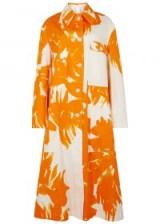 DRIES VAN NOTEN Riguel orange printed cotton coat ~ loose tailored coats ~ citrus colours