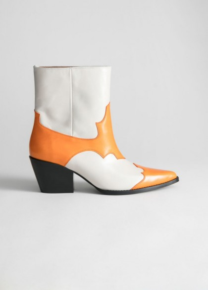 & other stories Duo Toned Leather Cowboy Boots in Orange / White ~ block colour western boot