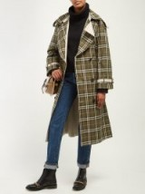 BURBERRY Eastleigh reversible green tartan cotton trench coat