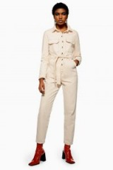 Topshop Ecru Denim Boilersuit | neutral tie waist boilersuits