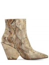 ELENA IACHI 80MM SNAKE PRINT FABRIC ANKLE BOOTS in BEIGE – chunky heel boot