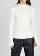 ELLERY Erratum cream ribbed-knit top ~ structured shoulders