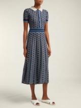 GABRIELA HEARST Elvis striped cashmere-blend midi dress in blue ~ vintage style clothing