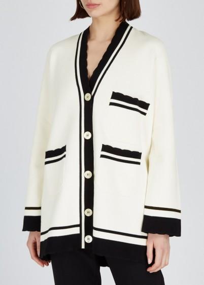 EMPORIO ARMANI Ivory oversized cotton cardigan ~ monochrome varsity style cardi