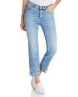Escada Embroidered Straight-Leg Ankle Jeans in Bright Blue ~ scalloped hems