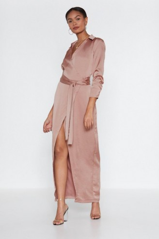 NASTY GAL Evacuate the Dancefloor Satin Dress in rose ~ slinky pink tie waist maxi