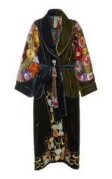 Rianna + Nina Exclusive Belted Silk-Embroidered Velvet Coat in Navy | luxe coats