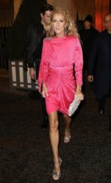 Céline Dion hot pink ruched dress, DODO BAR OR Grace embellished draped silk-jacquard dress, visiting Moulin Rouge, Paris, January 2019 | celebrity street style | star style evening dresses