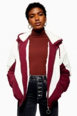 TOPSHOP Faux Fur Lined Windbreaker Jacket in Burgundy / casual red and white jackets