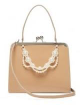 SIMONE ROCHA Faux pearl-trimmed cream leather bag ~ vintage look handbags