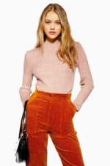 Topshop Feeder Knitted Jumper in Blush | pink fitted high neck sweater