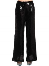 FILLES A PAPA SEQUINED WIDE LEG PANTS in BLACK – glitzy evening trousers