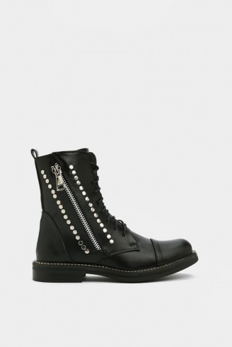 NASTY GAL Flat Stud Metal Trim Band Hiker Boot in black ~ studded combat boots
