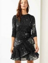 M&S COLLECTION Floral Print 3/4 Sleeve Waisted Mini Dress in Black Mix – ruffled dresses