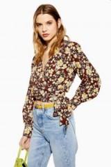 Topshop Floral Wrap Crop Blouse in Brown | retro prints