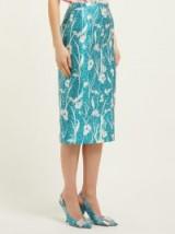 ROCHAS Floral-print duchess satin pencil skirt in blue