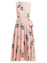 ROCHAS Floral-printed silk crepe de Chine midi dress ~ pink sleeveless fit and flare