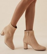 REISS FLORENS SUEDE SUEDE BLOCK HEELED BOOTS NEUTRAL ~ luxe booties
