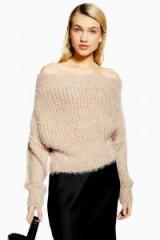 Topshop Fluffy Off Shoulder Jumper in Neutral | bardot sweater