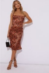 IN THE STYLE FLYN RUST ZEBRA SATIN COWL NECK MIDI DRESS – animal print evening fashion