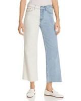Alexa Two-Tone Crop Wide-Leg Jeans in Cloud Sky ~ colour block denim
