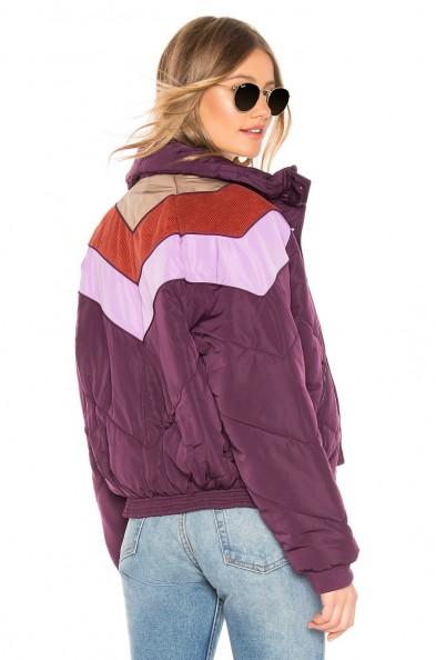 Free People Heidi Ski Puffer Jacket in Wine – corduroy details