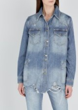 FREE PEOPLE Moonchild distressed denim shirt in blue