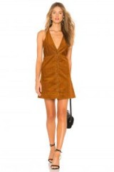 Free People Rolling Thunder Corduroy Mini Dress in Cinnamon – sleeveless front buttoned cord dresses