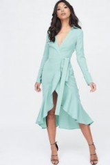 Lavish Alice frill hem wrap front shirt dress in sage | light-green plunge front dresses