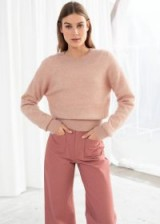 & other stories Fuzzy Sweater in Light Pink | soft rib trimmed jumper