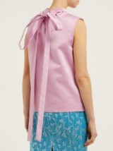 ROCHAS Gathered duchess satin top ~ pink tie back sleeveless top