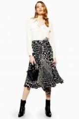 Topshop Giraffe Pleat Midi Skirt in Monochrome | black and white animal prints