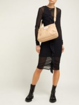 MAISON MARGIELA Ruffled mesh dress in tan-brown ~ large luxe crossbody