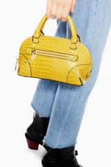 Topshop Goa Mini Crocodile Bowler Bag in Yellow | small croc embossed top handle